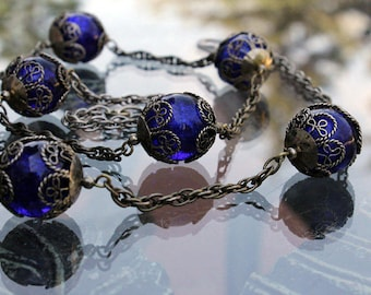 Chain Necklace with Cobalt Blue Glass Beads, 1980s