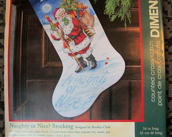 Christmas Dimensions Counted Cross Stitch Holiday Stocking Kit 08806 NAUGHTY OR NICE