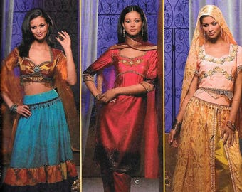Simplicity 4249 Gypsy Belly Dancer Sari India Adult Costume Sewing Pattern Uncut Size 6, 8, 10, 12