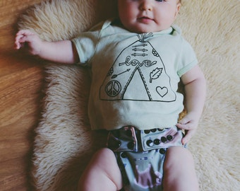 Boho Baby Love Tipi Shirt in Mint
