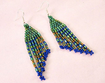 Beaded Green/Blue Peacock Fringe Earrings, Beaded Earring, Fringe Earring, Chandelier Earring, BOHO Earring, Weaved Earring,