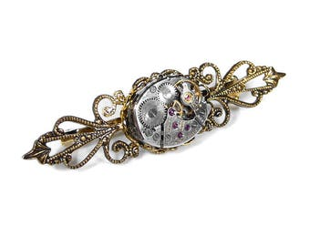 Steampunk Jewelry Pin Brooch Mens Womens Steam Punk Brass Filigree Vintage Jeweled Watch Anniversary Wedding - Jewelry by Steampunk Boutique