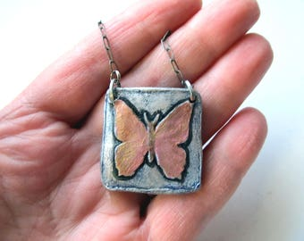 Butterfly Necklace Impression in Clay with Gold Wings on Silver Color Nickel Chain Choker Pendant