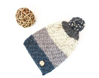 Pom Pom Beanie Slouch Hat TEAL & GRAY Striped Wool / Alpaca Slouchy Beanie Hat Handknit Unisex Winter Accessory Handmade by WormeWoole