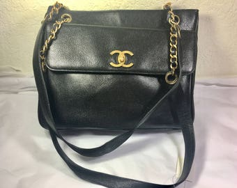 Vintage CC Large Black Caviar  Leather Shoulder Bag OBO