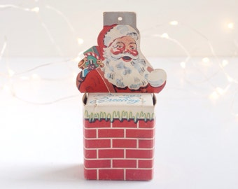 Vintage Santa Claus Christmas Club money box, 1950s Christmas decoration, die cut paper box, First National Bank of Elkhart, Indiana