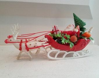 Vintage Plastic Santa and Reindeer Sleigh