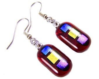 "Dichroic Earrings - Red Blue Gold Pink Stop Light Patterned Dichro Fused Glass - Surgical Steel French Convert to Clip On - 1"" 25mm"