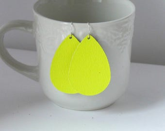 Neon Green Yellow Leather Drop Earrings