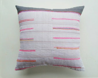 Vintage Hmong Pillow Cover - Modern Bohemian Decor - Neon Stripe Pillow by Habitation Boheme