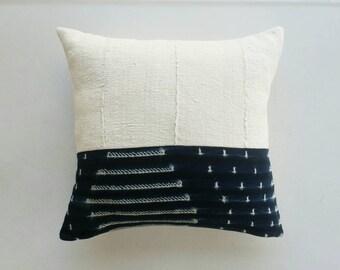 Indigo and White Mudcloth Pillow Cover - Boho Modern Bohemian Decor - African Pillow