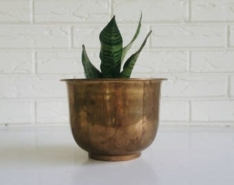Brass Planter - Brass Plant Holder - Metal Plant Container - Brass Decor