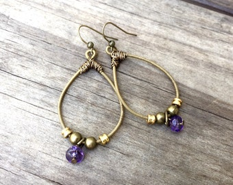 GUITAR STRING EARRINGS - bronze and purple earrings - for teens and adults - recycled/eco-friendly/upcycled jewelry - under 25.00