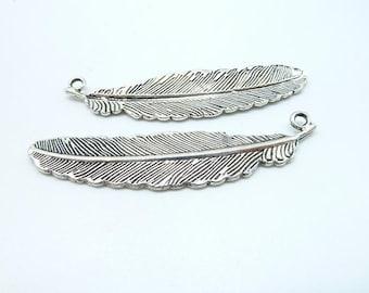 10pcs 15x52mm Antique Silver  Feather Charm Pendant C6262