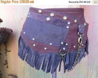 "20%OFF BURNING Man..festival belt, gypsy belt,,, suede belt with stud detail.chain,2 pockets ...32"" to 40"" waist/hip"