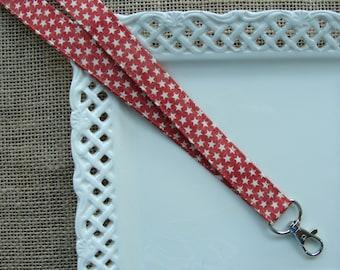 Fabric Lanyard - Rustic Stars on Barn Red