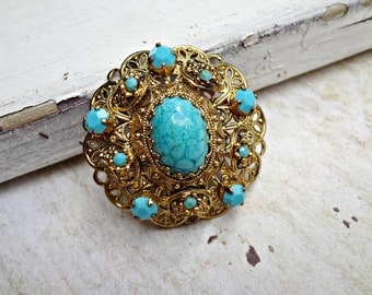 Gold Filigree Marbled Brooch / Blue Cabachon Pin / Victorian Style / Lightweight / Classic Marble Stone (I5)