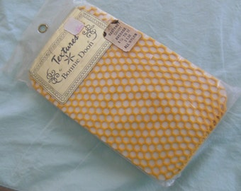 Vintage Canary Yellow Fishnet Stockings, 1970s , Garter Needed, Old Stock NIP