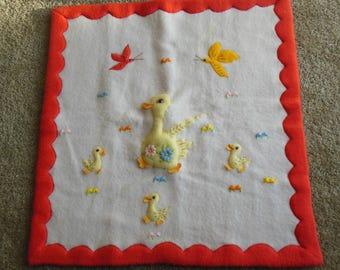 Adorable Hand Made Italy for Millison's, Ducks  Baby Blanket, Orange, Yellow