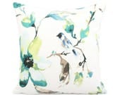 Green and Blue Floral Pillow over, Custom Size Square Euro Sham Lumbar, Watercolor Flower Bird, Spring Cushion, Summer Pillowcase, Zoey Mist