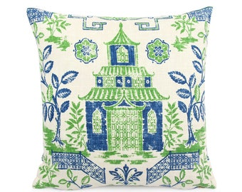 Green Blue Teahouse Pagoda Decorative Pillow Cover, Asian Toile Linen Toss Pillow, Lumbar Square Custom Pillow Sham, Chinoiserie Lapis Kelly