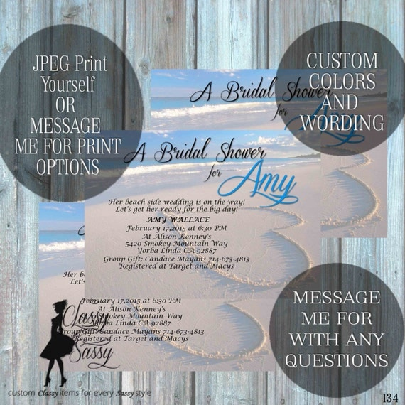 Beach Bridal Shower invitation, Beach Invitation, Blue Invitation, Tropical Bridal Shower 134