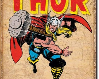 Vintage Style Tin Sign, Thor retro. Marvel comics, collectible tin sign, man cave, kids room, garage decor, wall hanging