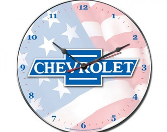 Vintage metal wall clock, Chevrolet American flag wall clock, man cave, garage decor, garage art,