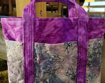 Quilted Batik Bag Greys and Purples
