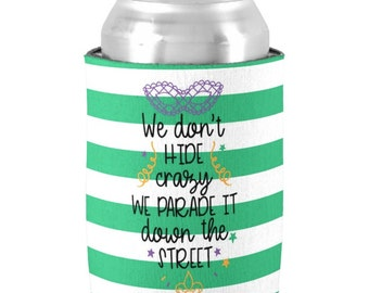 Mardi Gras Can Coolers - Mardi Gras Party Favors - Beer Can Coolers