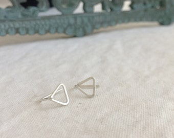 Tri (earrings) - Small sterling silver triangle stud, hand forged, hammered, chic, new, modern