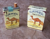 Vintage pair of camel cigarette lighters advertisement collectibles.  C3-462-1