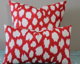 "BOTH SIDES or Front Only- Kravet Leokat Print Designed by Kate Spade(TM) in Maraschino Red - 16"" - 24"" Square or Lumbar - Decorative Pillow"