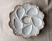 Antique Oyster Porcelain Plate -- French Fleamarket Finds -White Dishes - Beach House Wall Art