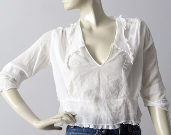Edwardian blouse, antique white cotton top