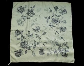 """1950s Rudolf Brauchbar ART Luxury Silk Scarf / made in Switzerland / 30"""" square / pale Olive Green / artist rendition of Roses"""