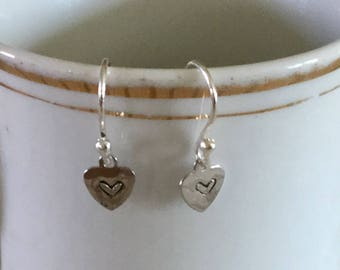 Tiny Hand Stamped Heart Earrings