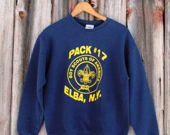 Vintage Boy Scouts Pack Sweatshirt Navy and Yellow Trifoil Graphic