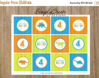 SALE Dinosaur Cupcake Toppers DIGITAL File 8.5  x 11 JPEG File Personalized