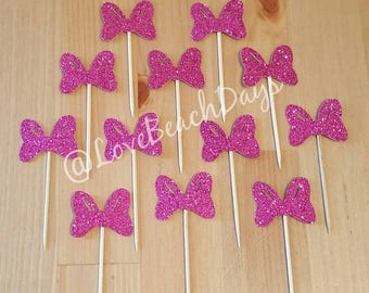 Minnie Mouse Bow Cupcake Toppers: Pink Glitter Birthday Cupcake Toppers, First Birthday, Food Decorations