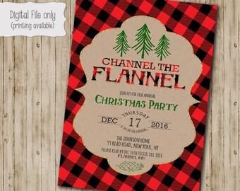 Flannel Christmas Party Invitation, Christmas Party Invites, Holiday Party Invites, Christmas Party Printable, Glitter Plaid Kraft Paper