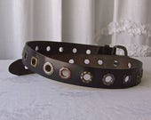 Vintage Black Leather Fossil Belt Hole Studded Belt Wide Belt Genuine Leather Belt 1990s