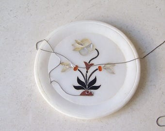 Vintage Trinket Dish Pin Dish Marble Dish Inlay Mother of Pearl Flower 1970s