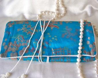 Vintage Jewelry Pouch Travel Clutch Jewelry Storage Turquoise Satin Jewelry Pouch ca. 1995