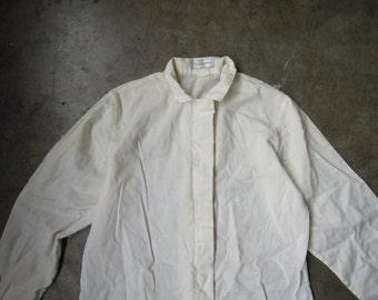 Vtg Evan-Picone Linen Cotton Simple Peasant Blouse Size Small Medium