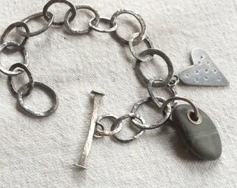 Beach Pebble Charm Bracelet