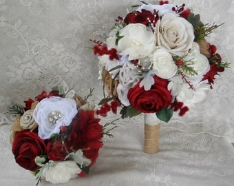 Wedding Bouquet, Red Bridal Bouquet, Rustic Bouquet, Winter Bouquet, Brooch Bouquet,Burgundy Red Bouquet, Christmas Bouquet,Woodland Bouquet