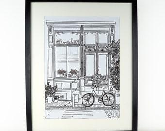 Amsterdam Picture, travel art, Monochrome art, artwork, Print of Amsterdam, Holland, Amsterdam Print, Travel art