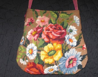 Needlepoint Flowers Unique Purse. Crazy quilt in back. Embroidered Cross body Pink handbag