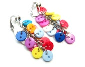 Button Cluster Clip On Earrings - Non-Pierced Ears